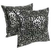 Blazing Needles Paisley Scaled Throw Pillow (Set of 2); Black / Silver