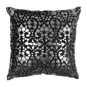 Blazing Needles Paisley Scaled Cotton Throw Pillow; Black / Silver