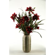 D & W Silks Magnolia Branches in Ceramic Cathedral Vase; Red