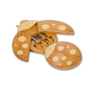 Picnic Plus by Spectrum 4 Piece Ladybug Bamboo Cheese Board and Tool Set