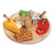 Picnic Plus by Spectrum Salerno Wooden Lazy Susan Cheese Board w/ 4 Cheese Knives