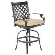 Alfresco Home Lattice Swivel Arm Chair with Cushion (Set of 2)