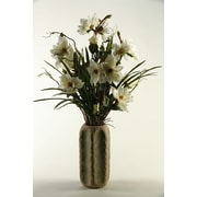 D & W Silks Magnolia Branches in Ceramic Cathedral Vase; White