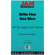 JAM Paper Legal Recycled Colored Paper, Sea Blue Brite Hue, 100/Pack