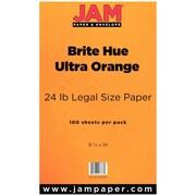 JAM Paper Legal Colored Paper, Ultra Orange Brite, 100/Pack