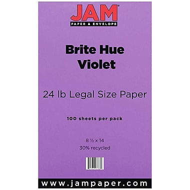 JAM Paper Legal Recycled Colored Paper, 100/Pack