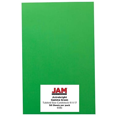 JAM Paper® Bright Colour Tabloid Cardstock, 11 x 17, 65lb AstroBrights® Gamma Green, 50/Pack (16728484)