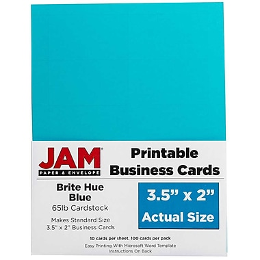 JAM PaperMD – Cartes professionnelles imprimables, 3 1/2 x 2 po, bleu vif, paq./500