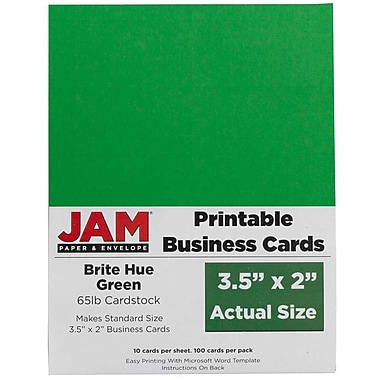 JAM Paper® Two Sided Printable Business Cards, 2 x 3.5, Bright Hue Green Recycled, 500/Pack (22128335g)