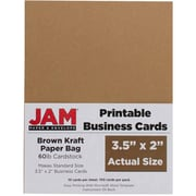JAM Paper® Two Sided Printable Business Cards, 2 x 3.5, Brown Kraft Paper Bag Recycled, 500/Pack (22128339g)