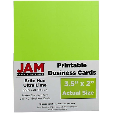 JAM PaperMD – Cartes professionnelles imprimables, 3 1/2 x 2 po, vert lime, paq./500