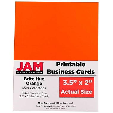 JAM Paper® Two Sided Printable Business Cards, 2 x 3.5, Bright Hue Orange Recycled, 500/Pack (22128342g)