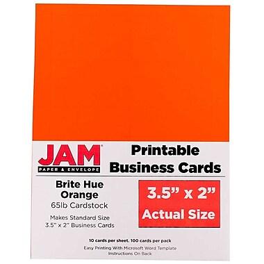 JAM PaperMD – Cartes professionnelles imprimables, 3 1/2 x 2 po, orange, paq./500