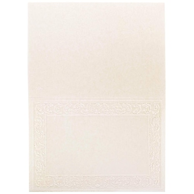 JAM Paper® Blank Foldover Cards, 4bar / A1 size, 3.5 x 4.88, Ivory Panel with Lead Border, 100/Pack (30928424)