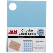 JAM Paper® Round Circle Label Sticker Seals, 1 2/3 inch diameter, Baby Blue, 120/pack (40528290)