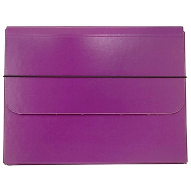 JAM Paper® Thick Portfolio Carrying Case with Elastic Band Closure, 10 x 13.25, Purple, 2/Pack (154528514g)
