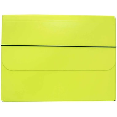 JAM Paper® Thick Portfolio Carrying Case with Elastic Band Closure, 10 x 13.25, Lime Green, 2/Pack (154528515g)