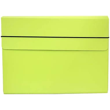 JAM Paper® Thin Portfolio Carrying Case with Elastic Closure, 9.25 x 12.5, Lime Green, 2/Pack (154528543g)
