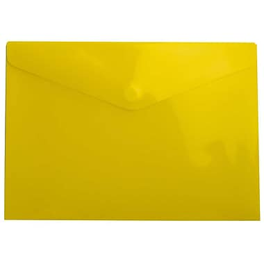 JAM Paper® Plastic Envelopes with VELCRO® Brand Closure, Letter Booklet, 9.75 x 13, Yellow, 24/Pack (235828266g)