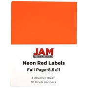 JAM Paper® Full Page Labels, 8.5 x 11 Sticker Paper, Neon Red, 10/pack (337628604)