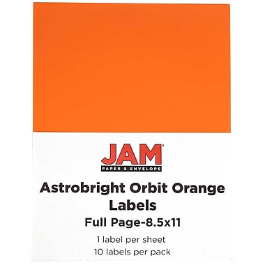 JAM Paper® Large Astrobright Full Page Sticky Labels, 8 1/2