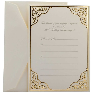 JAM Paper® Fill-in Wedding Invitation Set, Gold Border 50th Anniversary, 25/Pack (354628421)