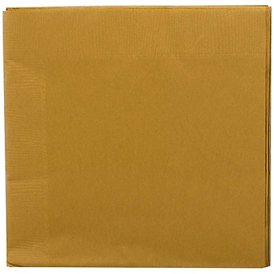 JAM Paper Small Beverage Napkins Small 5 x 5 Gold 50 Pack 356028327