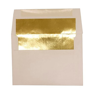 JAM Paper® A6 Foil Lined Envelopes, 4.75 x 6.5, White with Gold Lining, 250/Pack (82851H)