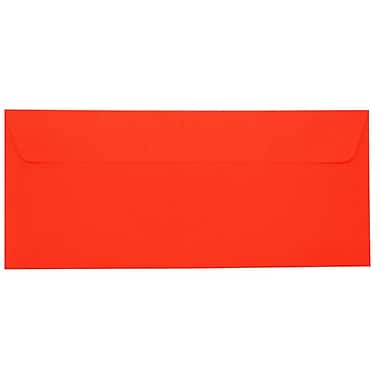 JAM Paper® #10 Business Envelopes with Peel and Seal Closure, 4 1/8 x 9.5, Brite Hue Christmas Red Recycled, 500/Pack (11789H)