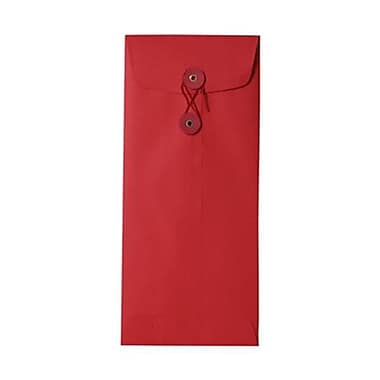 JAM Paper® #10 Policy Envelopes with Button and String Tie Closure, 4 1/8 x 9.5, Brite Hue Red Recycled, 50/Pack (1261599I)