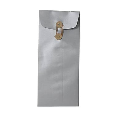 JAM Paper® #10 Policy Envelopes with Button String Tie Closure, 4 1/8 x 9.5, Metallic Silver, 500/Pack (1261603BH)