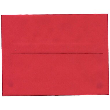 JAM Paper® A2 Invitation Envelopes, 4.38 x 5.75, Brite Hue Red Recycled, 250/Pack (15845H)