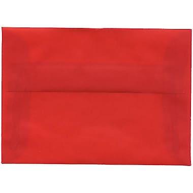 JAM Paper® 4bar A1 Envelopes, 3.63 x 5 1/8, Red Translucent Vellum, 50/Pack (1591618I)