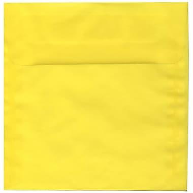 JAM Paper® 8.5 x 8.5 Square Envelopes, Yellow Translucent Vellum, 50/Pack (1592162I)