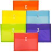JAM Paper® Plastic Envelopes with Button String Tie Closure, Letter Booklet, 9.75x13, Assorted Poly Colors, 6/pack (218B1RGBOYP)