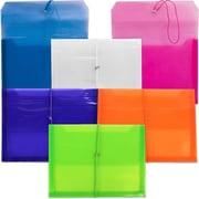 JAM Paper Plastic Elastic Closure Expansion Envelope, Assorted Colors, 6/Pack