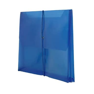 JAM Paper® Plastic Envelopes with 2.63 Expansion, Elastic Closure, Letter Booklet, 9.75 x 13, Blue Poly, 12/Pack (218E25BUB)