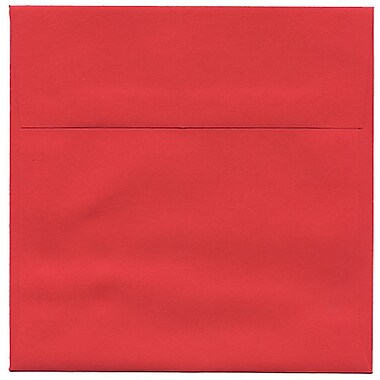 JAM Paper® 6.5 x 6.5 Square Envelopes, Brite Hue Red Recycled, 50/Pack (2792283I)