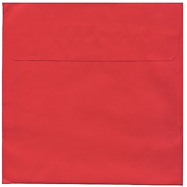 JAM Paper® 8.5 x 8.5 Square Envelopes, Brite Hue Red Recycled, 250/Pack (2794374H)
