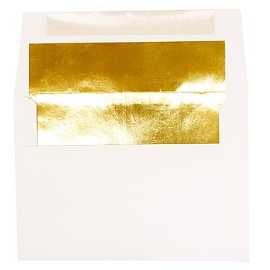 JAM Paper® A7 Foil Lined Envelopes, 5.25 x 7.25, White with Gold Lining, 250/Pack (3243663H)