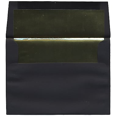 JAM Paper® A7 Foil Lined Envelopes, 5.25 x 7.25, Black Linen with Gold Lining, 50/Pack (3243679I)
