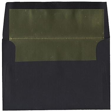 JAM Paper – Enveloppes A8 en papier recyclé noir à revers doré, effet toilé, 50/paquet