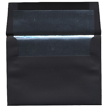 JAM Paper® A6 Foil Lined Envelopes, 4.75 x 6.5, Black Linen Recycled with Silver Lining, 50/Pack (3243681I)