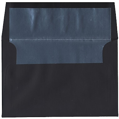 JAM Paper® A8 Foil Lined Envelopes, 5.5 x 8.125, Black Linen with Silver Lining, 250/Pack (3243683H)