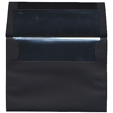 JAM Paper® A7 Foil Lined Envelopes, 5.25 x 7.25, Black Linen with Silver Lining, 50/Pack (3243688I)
