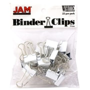 JAM Paper® Binder Clips, Small, 19mm, White Binderclips, 25/pack (334BCWH)