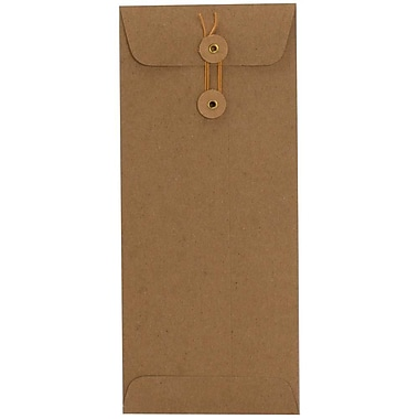 JAM Paper® #10 Policy Envelopes with Button and String Tie Closure, 4 1/8 x 9.5, Brown Kraft Paper Bag, 500/Pack (41266941H)