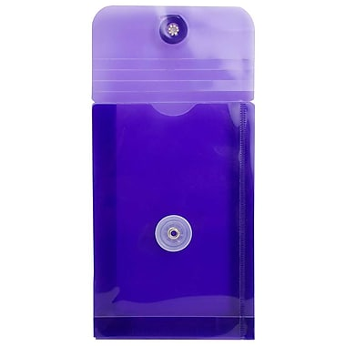 JAM Paper® Plastic Envelopes with Button and String Tie Closure, Open End, 4.25 x 6.25, Purple Poly, 24/Pack (473B1pug)