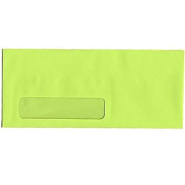JAM Paper® #10 Window Envelopes, 4 1/8 x 9.5, Brite Hue Ultra Lime Green, 500/Pack (5156480H)
