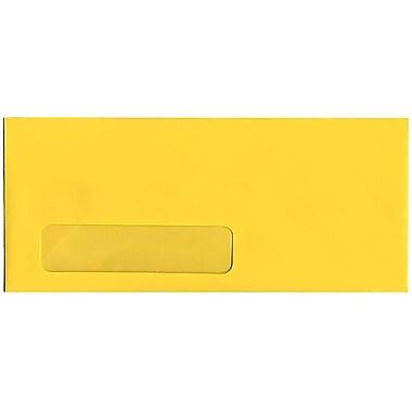 JAM Paper – Enveloppes recyclées à fenêtre Brite Hue n° 10 (4,13 x 9,5 po), jaune, 500/bte